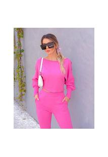Blusa Miss Misses Moletinho Com Mangas Longas Rosa Pink