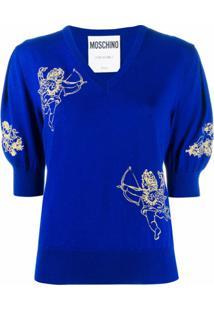Moschino Blusa Gola V - Azul