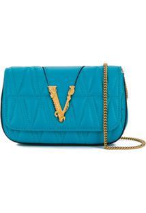 Versace Virtus Quilted Cross-Body Bag - Azul