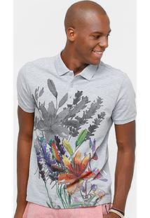 Camisa Polo Calvin Klein Piquet Sombra Flor Masculina - Masculino