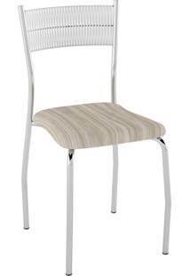 Kit C/ 2 Cadeiras Encosto Branco Assento Amadeirado Caramelo Pozza