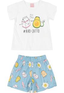 Pijama Curto Mãe E Filha Estampado Branco
