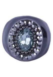 Anel Armazem Rr Bijoux Resina Preta Pedra Azul