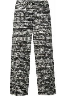 'S Max Mara Print Drawstring Cropped Trousers - Preto