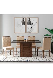 Conjunto De Mesa Rafaela 1,30Cm Para Sala De Jantar Com 4 Cadeiras Paola-Cimol - Marrocos / Preto / Nude