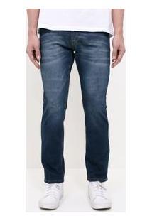 Calça Reta Com Puídos Em Jeans