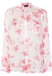 ... Emporio Armani Camisa De Seda Com Estampa Floral - Pink   Purple 9cf5a220e3950