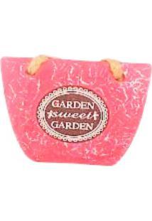 Cachepot De Cimento Pink Em Formato Bolsa C/ Alça De Juta