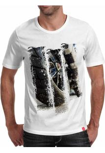 Camiseta Casual Sport Motorcycle Branca