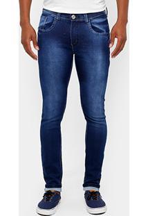 Calça Jeans Skinny Preston Escura Stone Elastano Masculina - Masculino