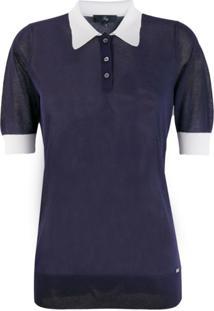 Fay Camisa Polo Com Gola Contrastante - Azul