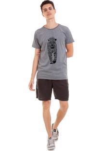 Camiseta Masculina Joss Onça Cinza