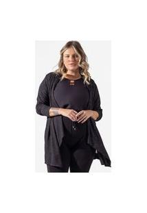 Cardigan Feminino Plus Size De Lurex Secret Glam Preto