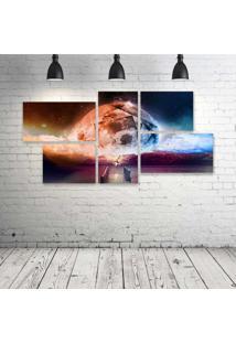 Quadro Decorativo - Sun-Amp-Moon - Composto De 5 Quadros - Multicolorido - Dafiti