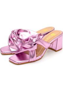 Sandália Tamanco Feminina Salto Baixo Confort Rosa Metalizado - Tricae