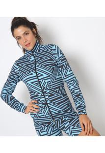 Jaqueta Geomã©Trica - Preta & Azul - Maborã©Maborã©
