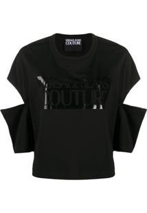 Versace Jeans Couture Blusa Com Estampa De Logo E Recortes - Preto