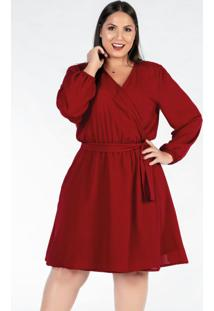 Vestido Plus Size Curto Bordô