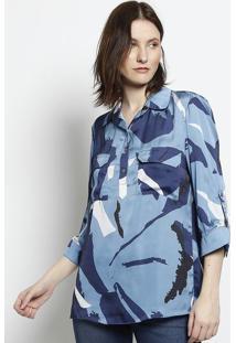 Camisa Abstrata Com Bolsos - Azul & Azul Escuroscalon