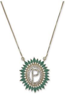 Colar Mandala Letra P Cravejado Com Zirconias Verdes E Banho Ouro 18K