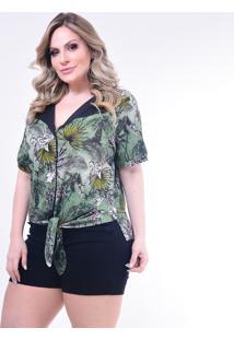 Camisa Plus Size Melinde Roujan Nó Verde - Kanui