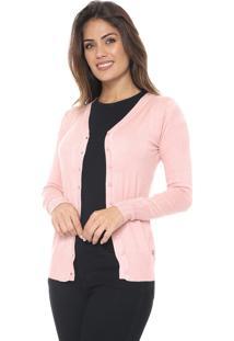 Cardigan Polo Wear Tricot Básico Rosa