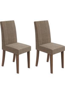 Conjunto De Cadeiras De Jantar 2 Rock Veludo Imbuia E Marrom