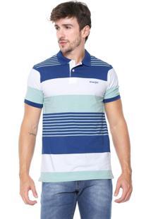 Camisa Polo Wrangler Reta Listrada Azul/Verde