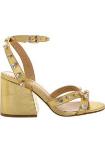 Sandália Block Heel Crystal Gold | Schutz