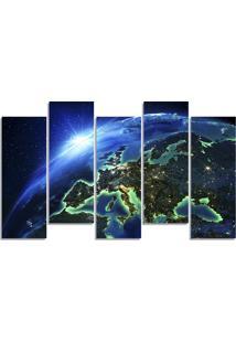 Quadro Decorativo Para Sala Quarto Mundo Planeta Terra - Multicolorido - Dafiti