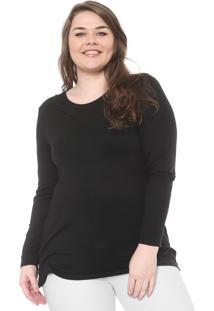Blusa Secret Glam Plus Size Alongada Bordado Preta