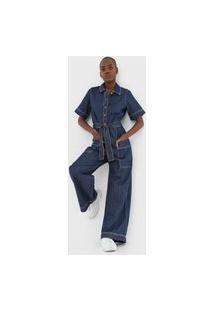 Macacão Jeans Colcci Pantalona Utilitário Azul
