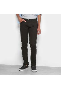 Calça Jeans Slim Coffee Listra Lateral Masculina - Masculino-Preto+Branco