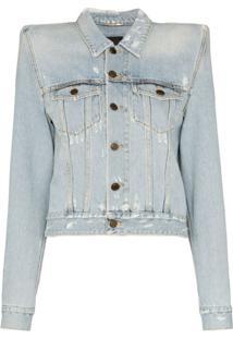 Saint Laurent Jaqueta Jeans Com Ombreiras - Azul