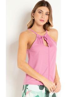 Blusa Rosê Com Amarração No Decote Costas