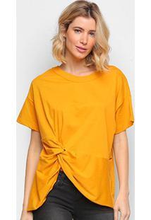 Camiseta Colcci Básica Assimétrica Feminina - Feminino-Amarelo