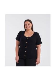 Blusa Com Botões Curve & Plus Size | Ashua Curve E Plus Size | Preto | Eg