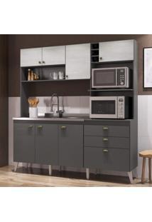 Cozinha Compacta 8 Portas 2 Gavetas Donna Casamia Grafite Touch/Snow