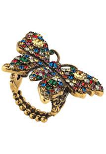 Gucci Anel 'Butterfly' Com Cristais - Dourado
