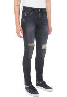 Calça Jeans Lacoste L!Ve Skinny Destroyed Azul-Marinho