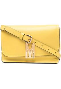 Moschino Bolsa Transversal Com Placa De Logo - Amarelo
