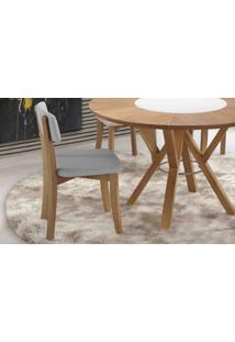Cadeira De Madeira Moderna Boni Estofada - Verniz Amendoa - Tec. 154B Cinza Claro - 42X49X82 Cm