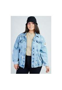 Jaqueta Jeans Blue Claro Com Rasgos Gang Plus Size Feminina