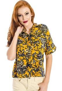 259d91b552 Camisa Floral Cantão - Feminino-Amarelo
