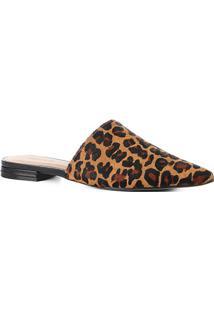 Mule Couro Shoestock Flat Leopard - Feminino-Caramelo+Preto