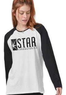Camiseta Manga Longa Feminina The Flash Série Star Laboratories - Feminino-Branco+Preto