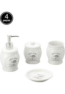 Conjunto 4Pçs Para Banheiro De Dolomita Sweet Home Branca Lyor