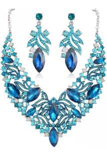 Conjunto Brinco E Colar Liage Pedraria Metal Pedras Cristais Azul Claro Turquesa Prata