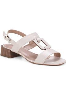 Sandália Couro Shoestock Salto Médio Madeira Feminina - Feminino-Off White