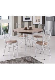 Conjunto De Mesa Com 4 Cadeiras Estofadas Golf Móveis Brastubo Carvalho/Marrom